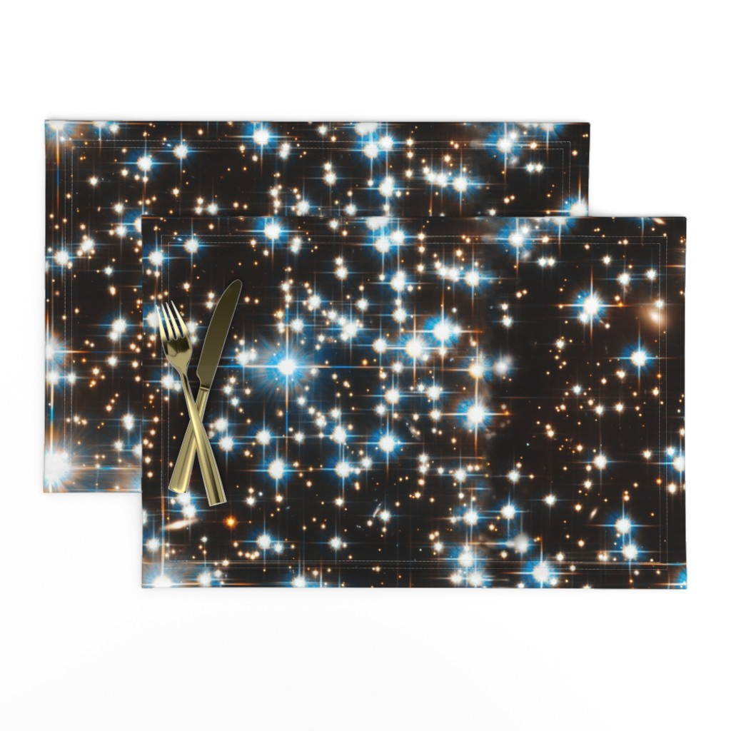 Lamona Cloth Placemats featuring Stars // Sparkle Star Field Dark Galaxy  by stars_and_stones