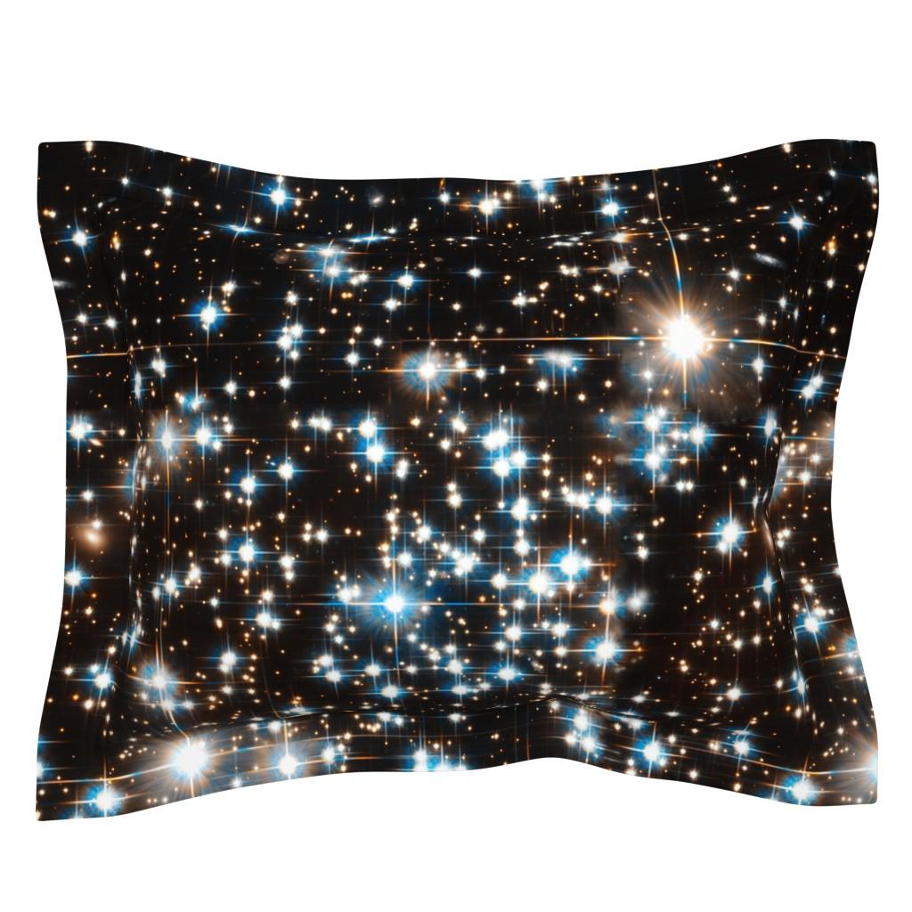 Sebright Pillow Sham featuring Stars // Sparkle Star Field Dark Galaxy  by stars_and_stones