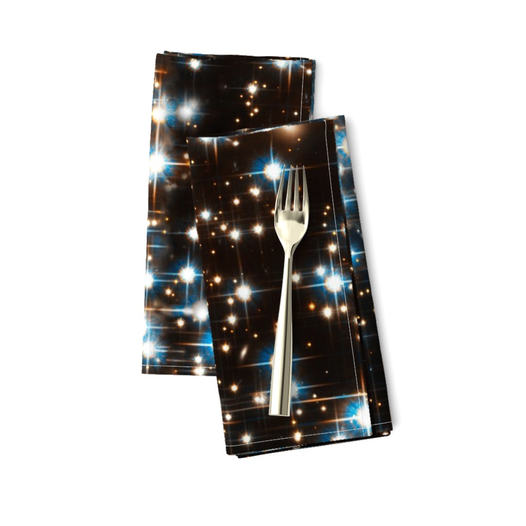 Amarela Dinner Napkins featuring Stars // Sparkle Star Field Dark Galaxy  by stars_and_stones