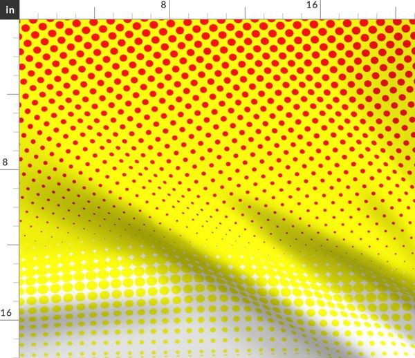 Fabric by the Yard CMYK halftone gradient - red/yellow/white