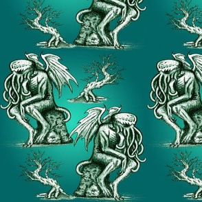 Cthulhu the Cthinker in Creepy Teal