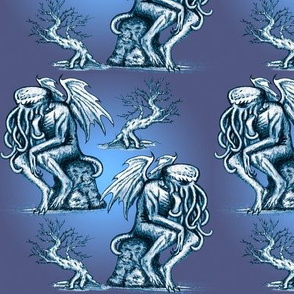 Cthulhu the Cthinker in Bilious Blue