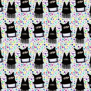 Ninja Kitty Cat Stickers | Rainbow Dots