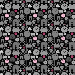 Monsters On the Loose - Black and Pinks - teeny