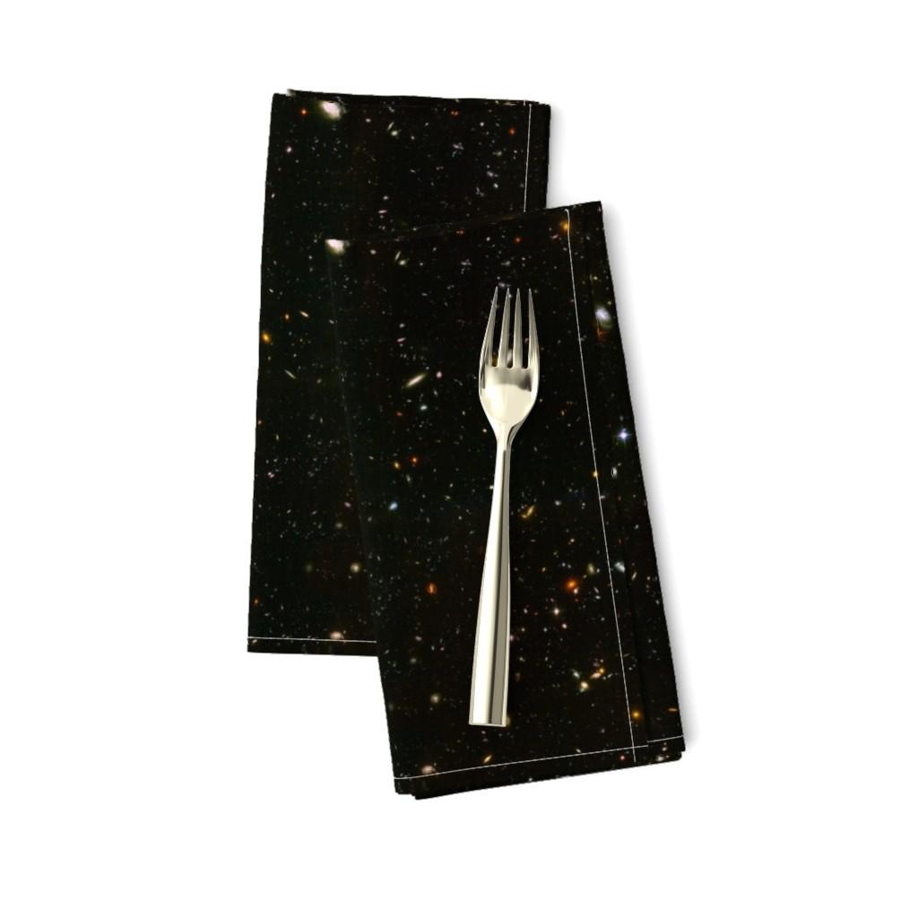 Amarela Dinner Napkins featuring Stars // Rainbow Star Field Dark Galaxy by stars_and_stones