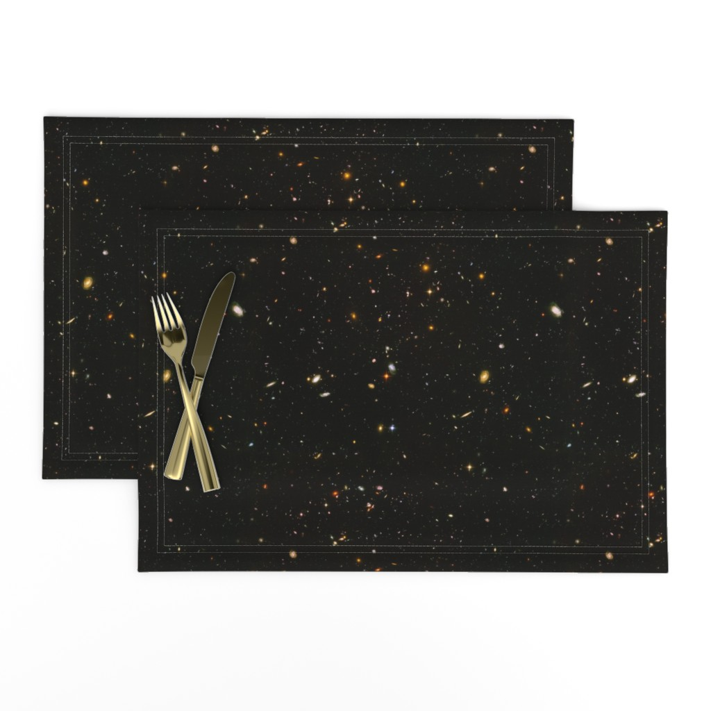 Lamona Cloth Placemats featuring Stars // Rainbow Star Field Dark Galaxy by stars_and_stones