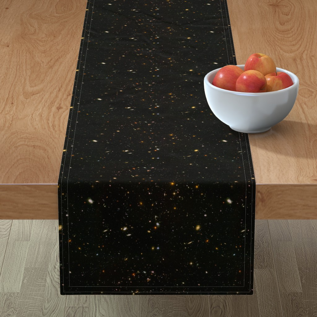 Minorca Table Runner featuring Stars // Rainbow Star Field Dark Galaxy by stars_and_stones