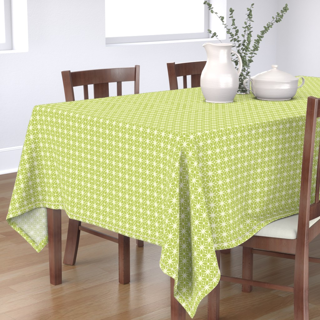 """Bantam Rectangular Tablecloth featuring """"Spring Rings"""" in green by mytinystar"""