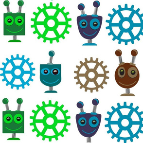 Colorful Robot Heads & Gears
