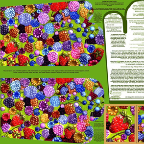 All The Berries Oven Mitt Pattern With Instruction Piece Pattern Plus Ornament Pattern  on Fat Quarter