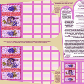 Lilac and Cream Plaid with Wine and Grapes Oven Mitt Pattern and Instructions Piece Pattern plus Ornament Pattern On Fat Quarter by Kristie Hubler