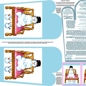 Snowman Sitting On Wood Chair Oven Mitt Pattern and Ornament Pattern plus Instructions on Piece Pattern on Fat Quarter by Kristie Hubler