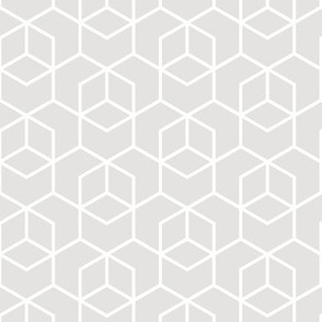 Hexagon trellis - white on pale grey