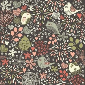 birds in flowers at night
