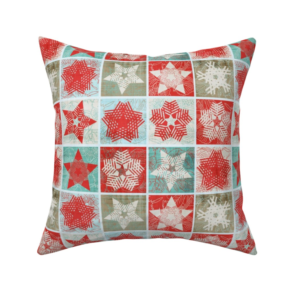Catalan Throw Pillow featuring Starflakes - Poinsettia-Ice-Linen by owlandchickadee
