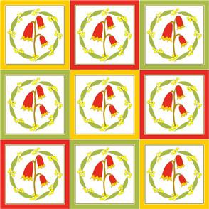 Christmas Bells and Golden Wattle -  Quilt  (Natural Heathland Colours)