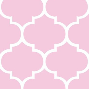 Fancy Lattice Pink with White Outline