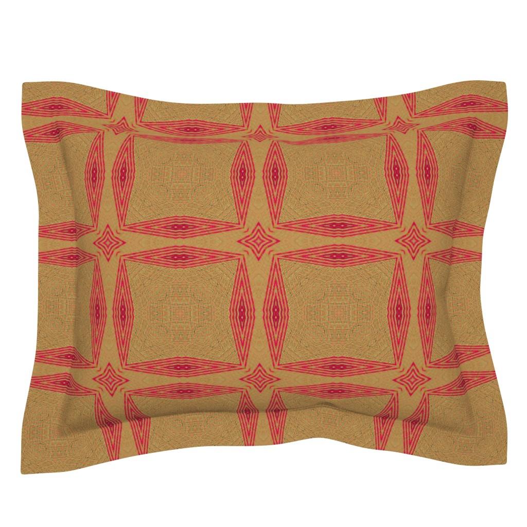 Sebright Pillow Sham featuring ikat-pink-tan by wren_leyland