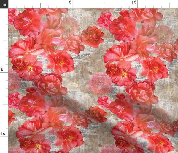 Stoff Meterware Blumen, Buch, Rosen, Druck, Seiten, Not, Drucken, Blumen