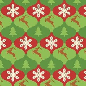 Tessellating Christmas Ornaments with Trees Snowflakes and Reindeer