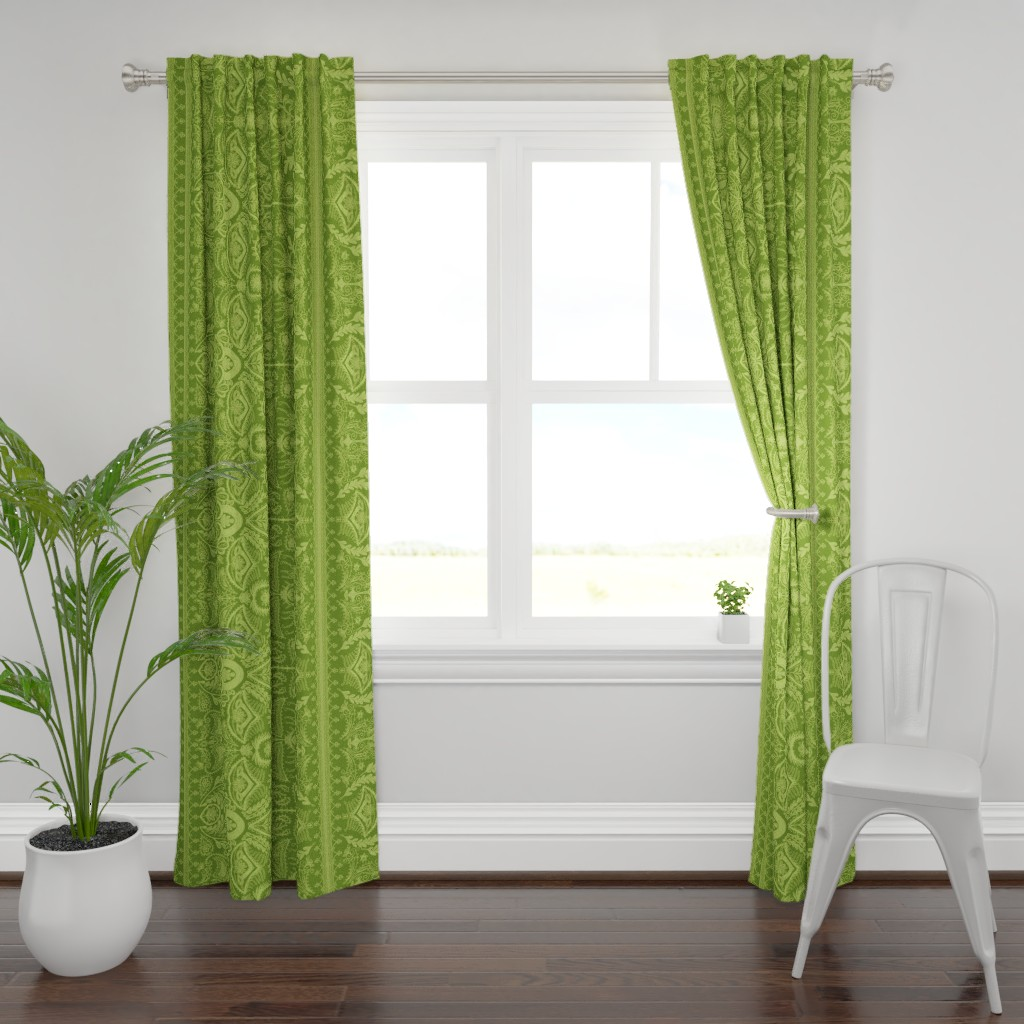 Plymouth Curtain Panel featuring 1900s Green Embroidery by ninniku