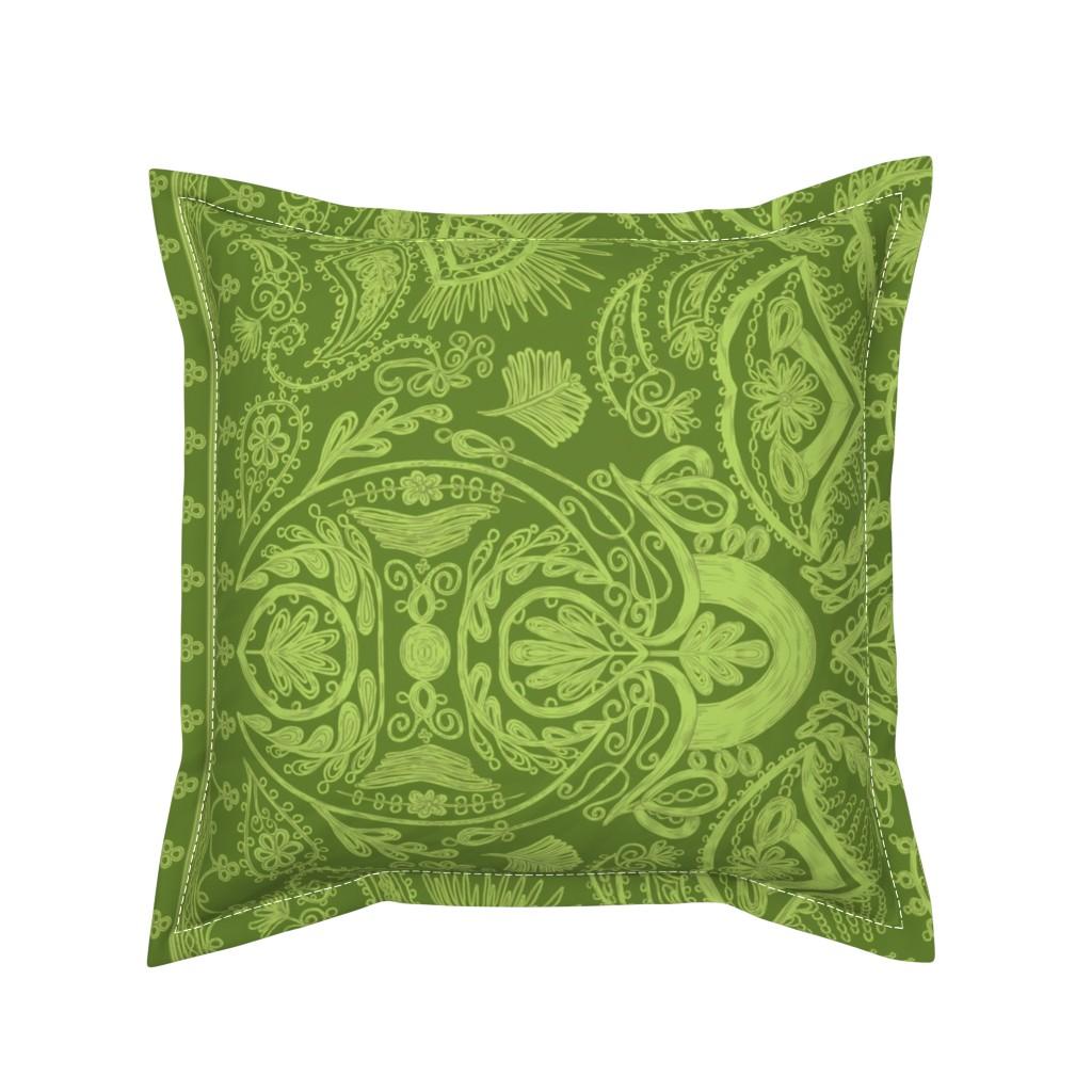 Serama Throw Pillow featuring 1900s Green Embroidery by ninniku