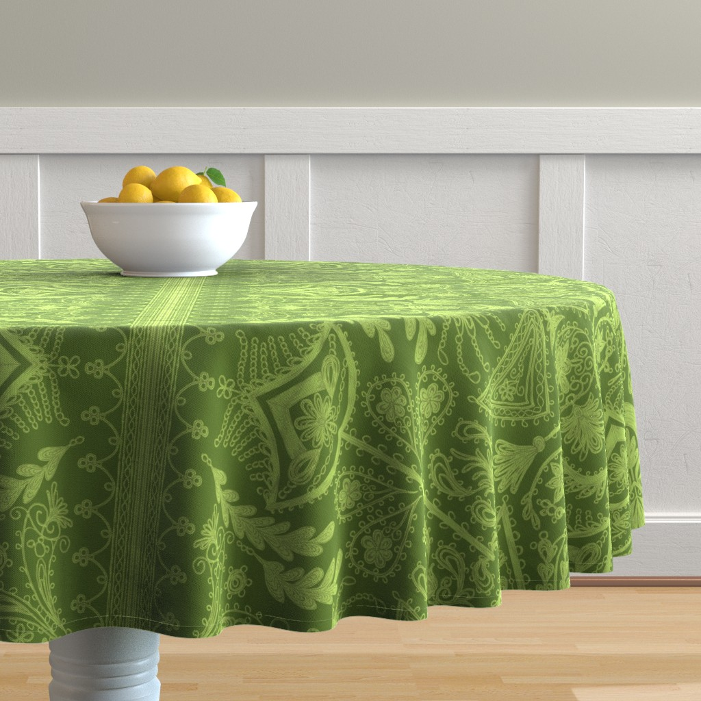 Malay Round Tablecloth featuring 1900s Green Embroidery by ninniku