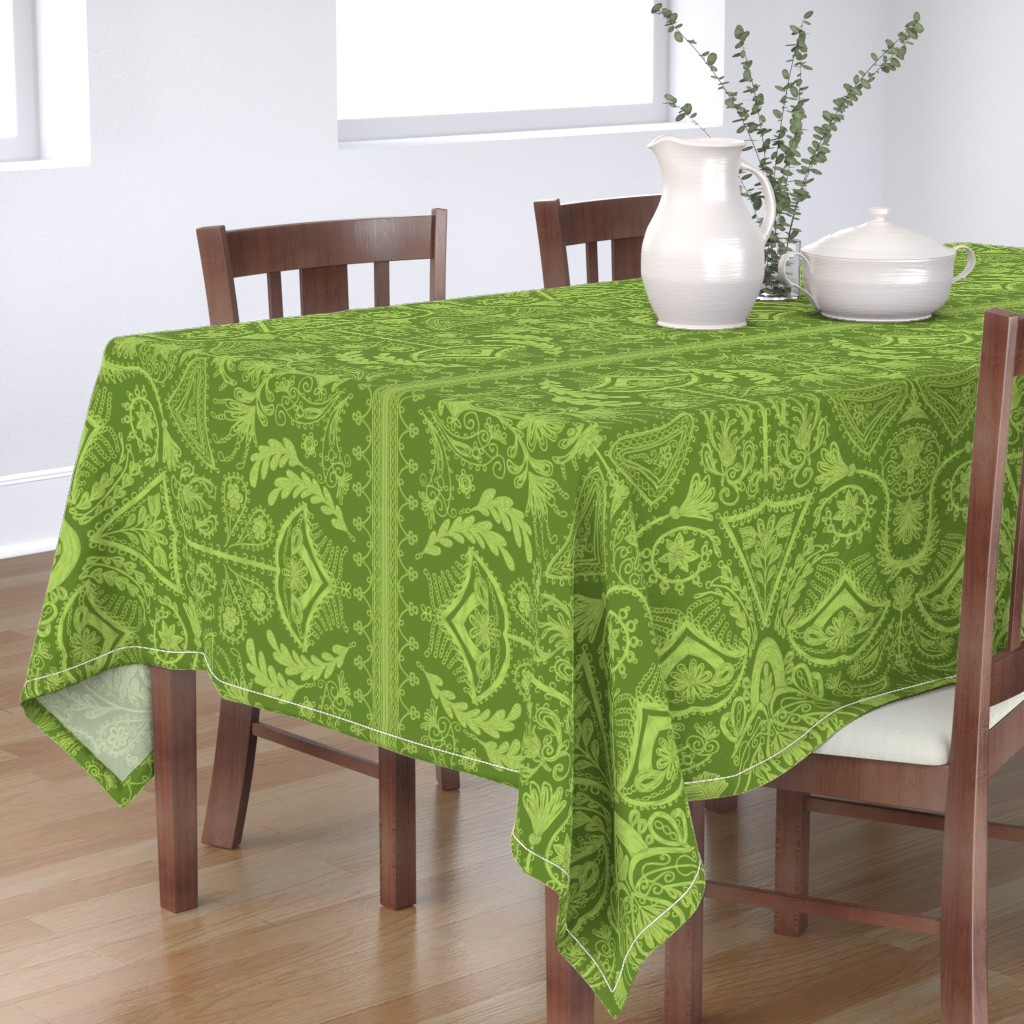 Bantam Rectangular Tablecloth featuring 1900s Green Embroidery by ninniku