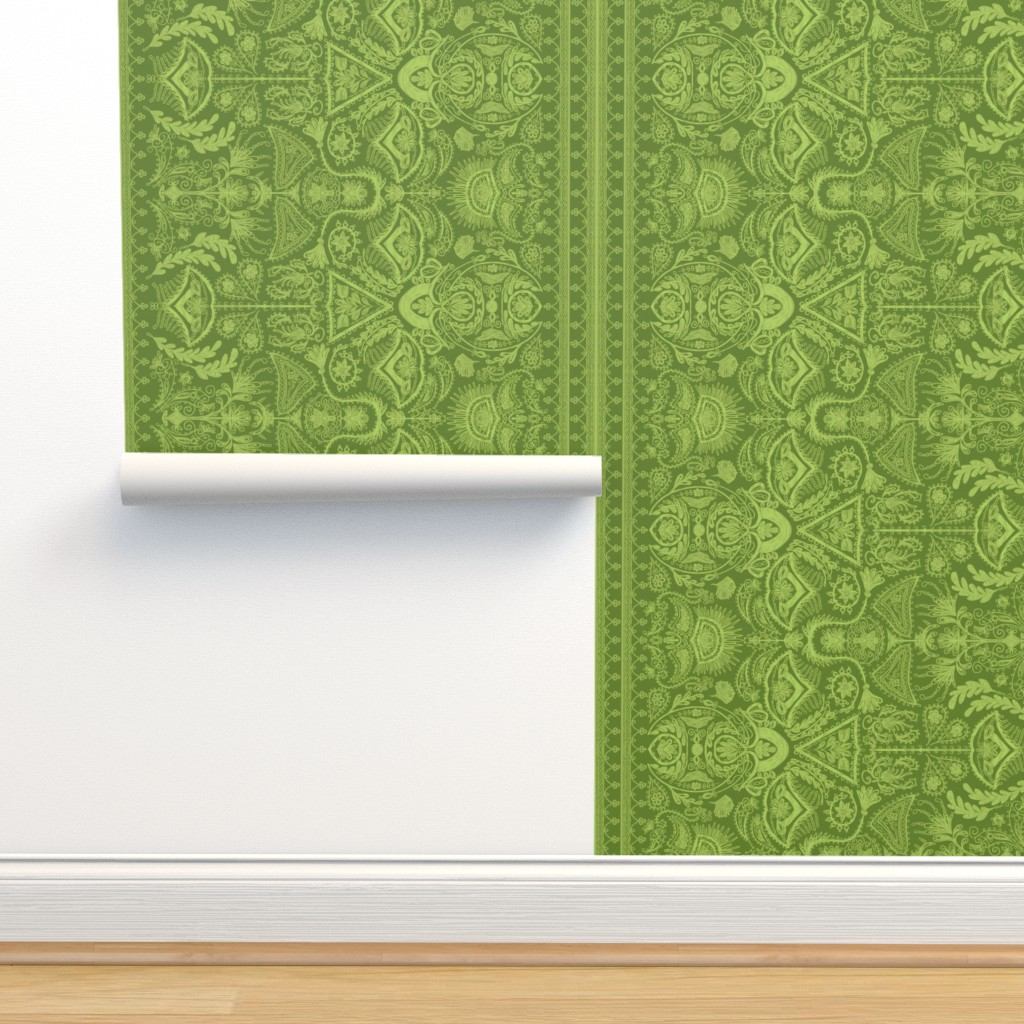 Isobar Durable Wallpaper featuring 1900s Green Embroidery by ninniku