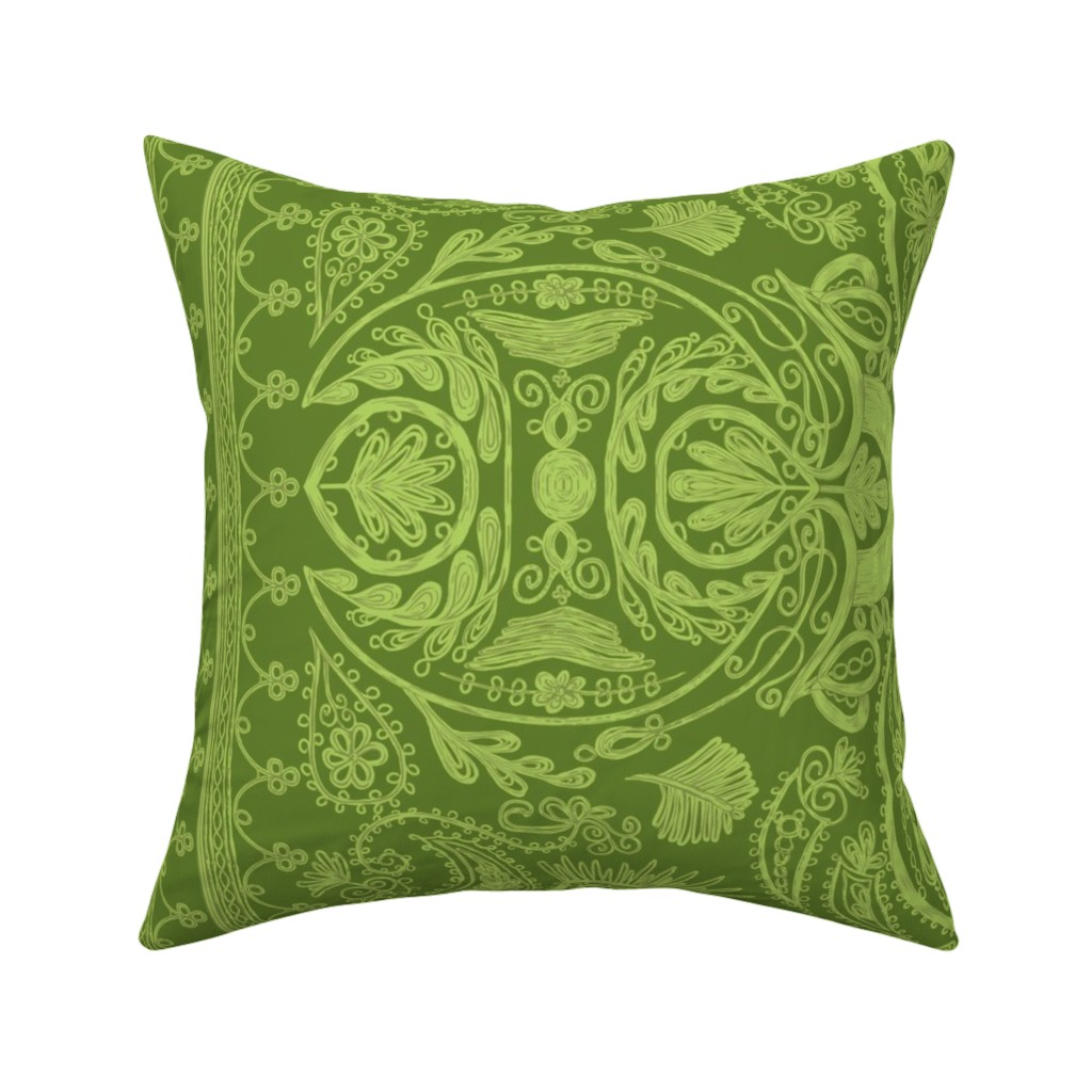 Catalan Throw Pillow featuring 1900s Green Embroidery by ninniku
