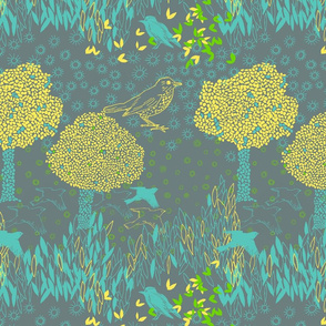 forest and birds