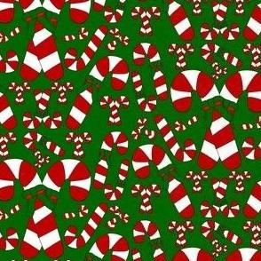Candy Canes Christmas Green Custom  Fabric
