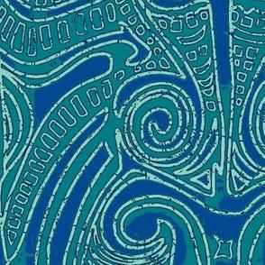 Maori blue/green pattern