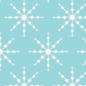 christmas snowflakes on blue LG #9AD7DC