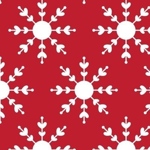 christmas snowflakes on red LG