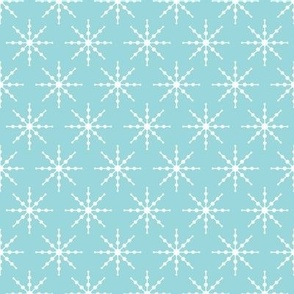 christmas snowflakes on blue #9AD7DC