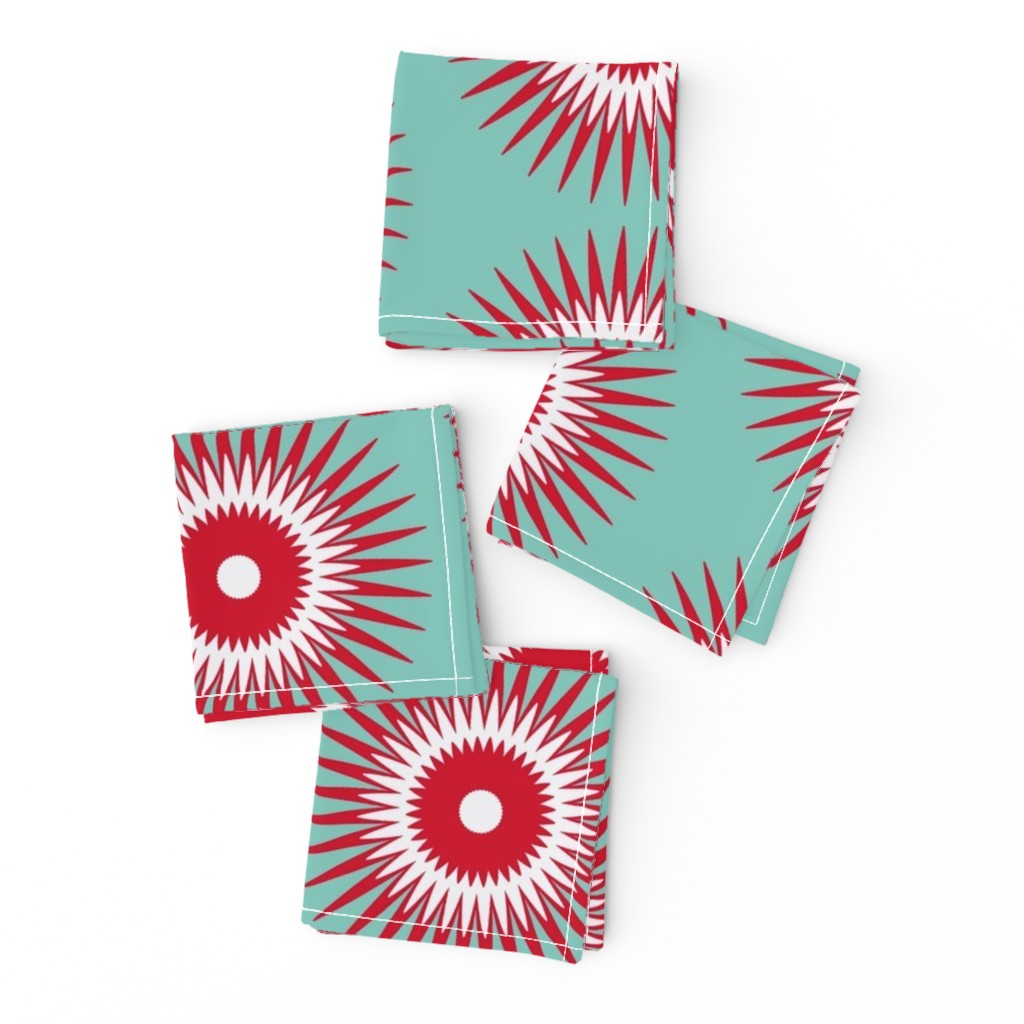 Frizzle Cocktail Napkins featuring Holiday Starburst  red + blue by alison_janssen