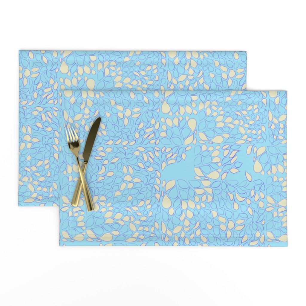 Lamona Cloth Placemats featuring Tiny Leaves Aqua Blue Cream by dorothyfaganartist