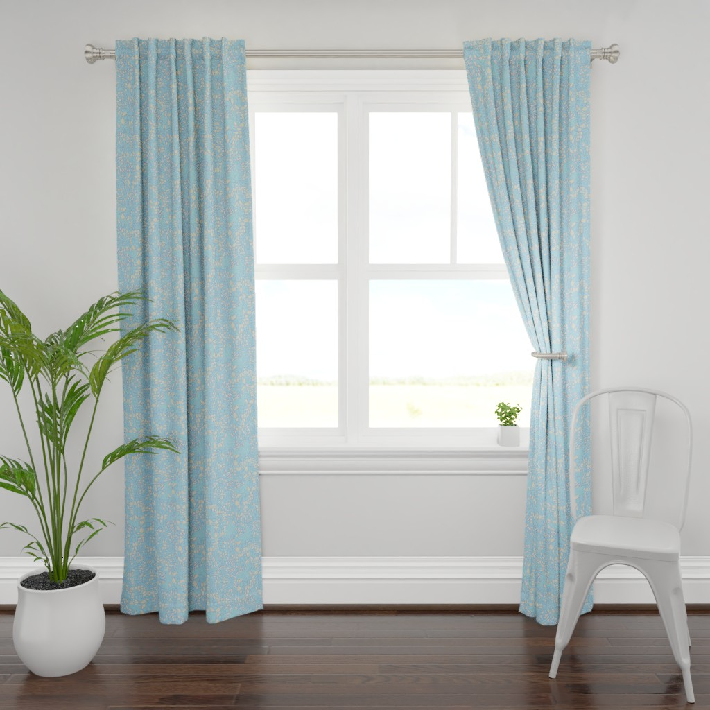 Plymouth Curtain Panel featuring Tiny Leaves Aqua Blue Cream by dorothyfaganartist