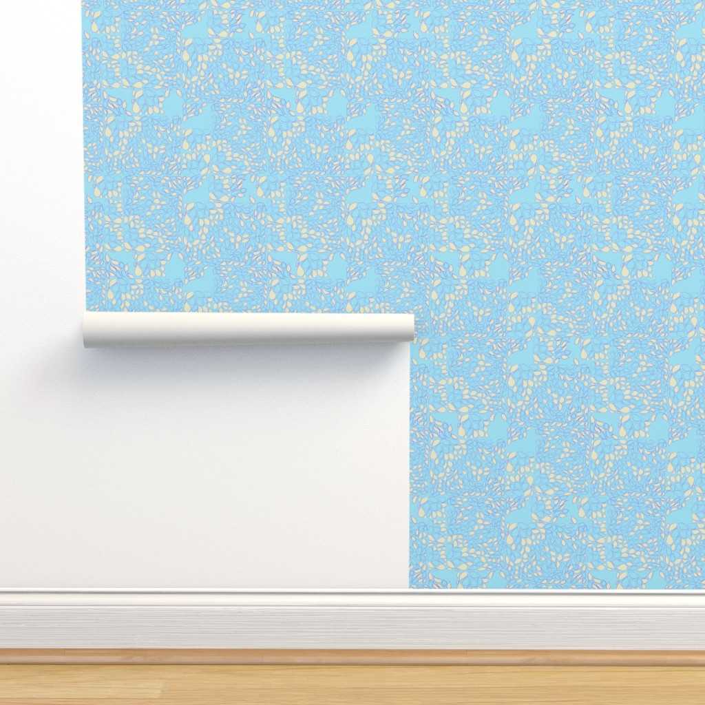 Isobar Durable Wallpaper featuring Tiny Leaves Aqua Blue Cream by dorothyfaganartist