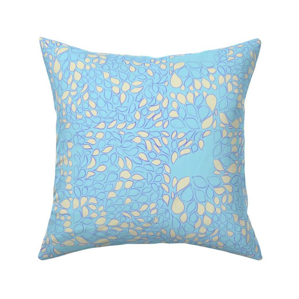 Catalan Throw Pillow featuring Tiny Leaves Aqua Blue Cream by dorothyfaganartist