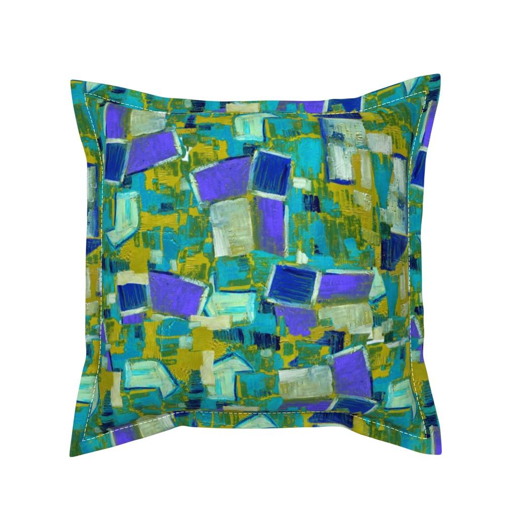 Serama Throw Pillow featuring Contemporary Abstract Garden Purple Teal Green by dorothyfaganartist