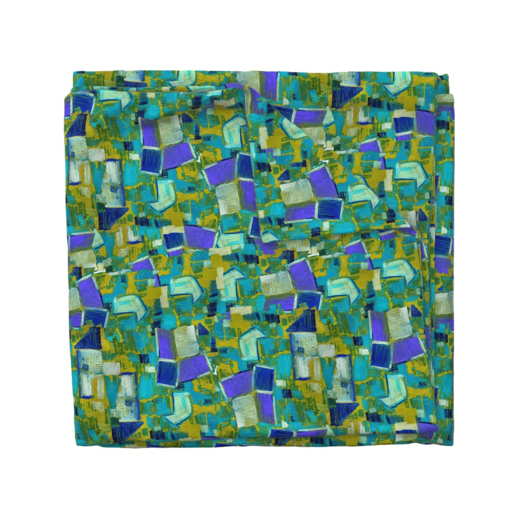 Wyandotte Duvet Cover featuring Contemporary Abstract Garden Purple Teal Green by dorothyfaganartist