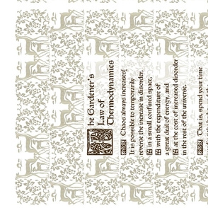 Gardeners Law of Thermodynamics teatowel - sepia text on lt taupe