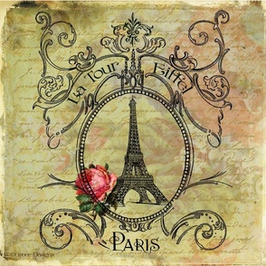 Eiffel Tower & Red Rose Steampunk