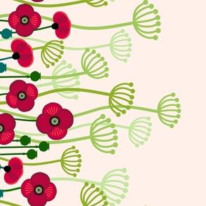 meadow flowers poppy border - single large