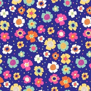 Tropical Ditsy Floral on Blue