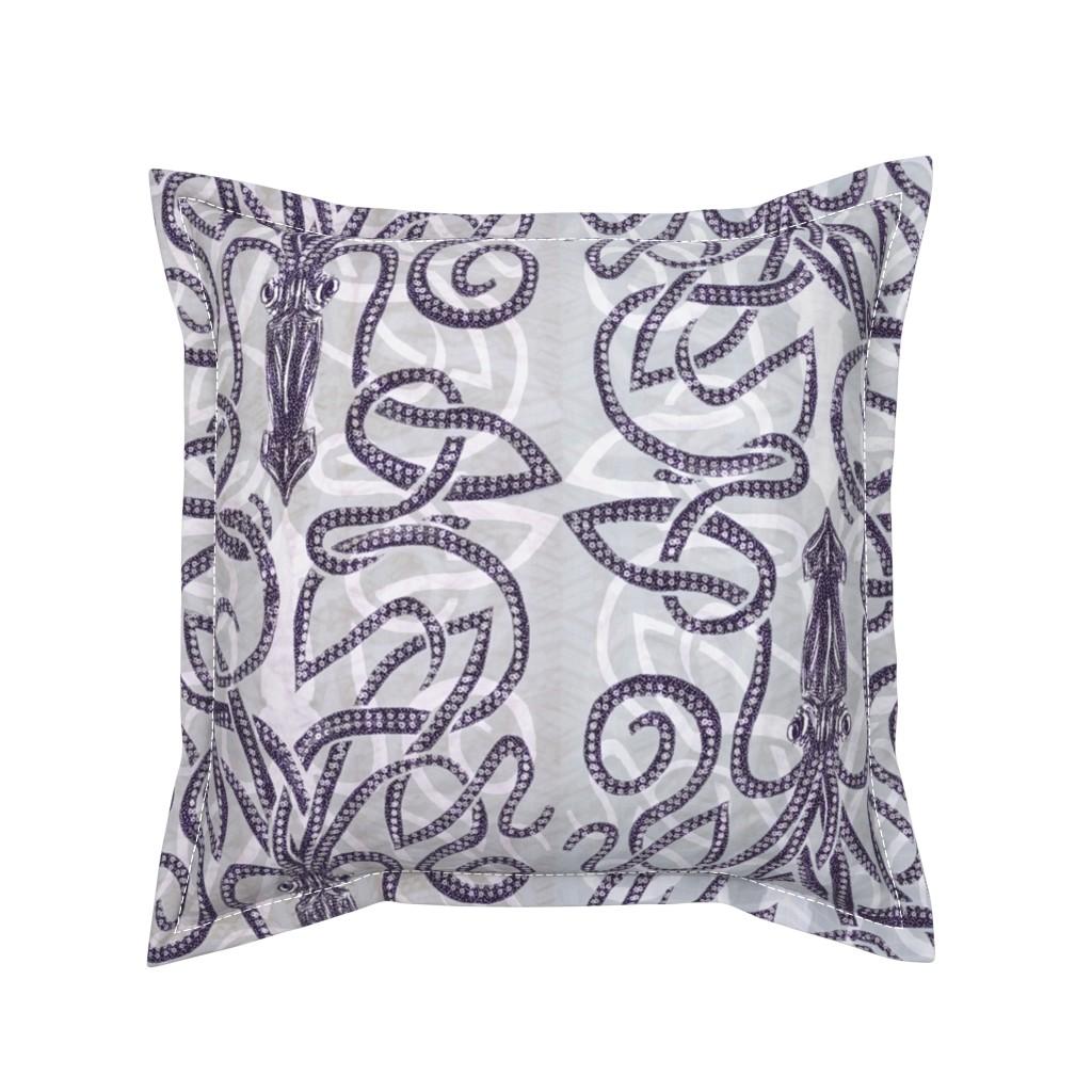 Serama Throw Pillow featuring Kraken wrapping with white by wren_leyland