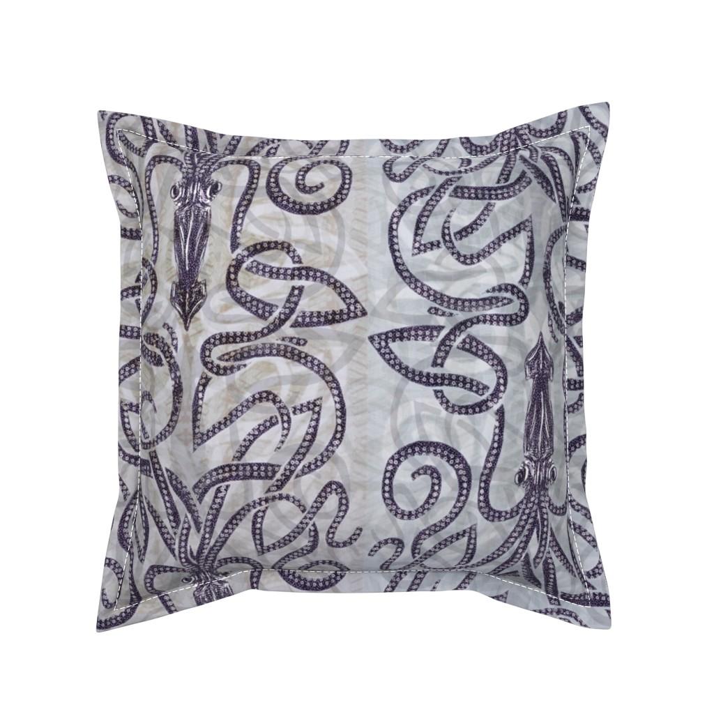 Serama Throw Pillow featuring Batik kraken  by wren_leyland