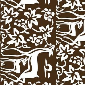 Arts & Crafts deer & grapes - vector - teatowel - dk brown-29